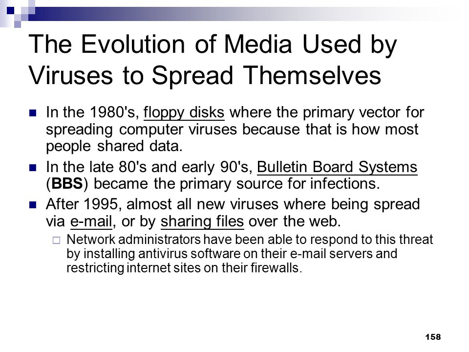 The Evolution of Media Used by Viruses to Spread Themselves