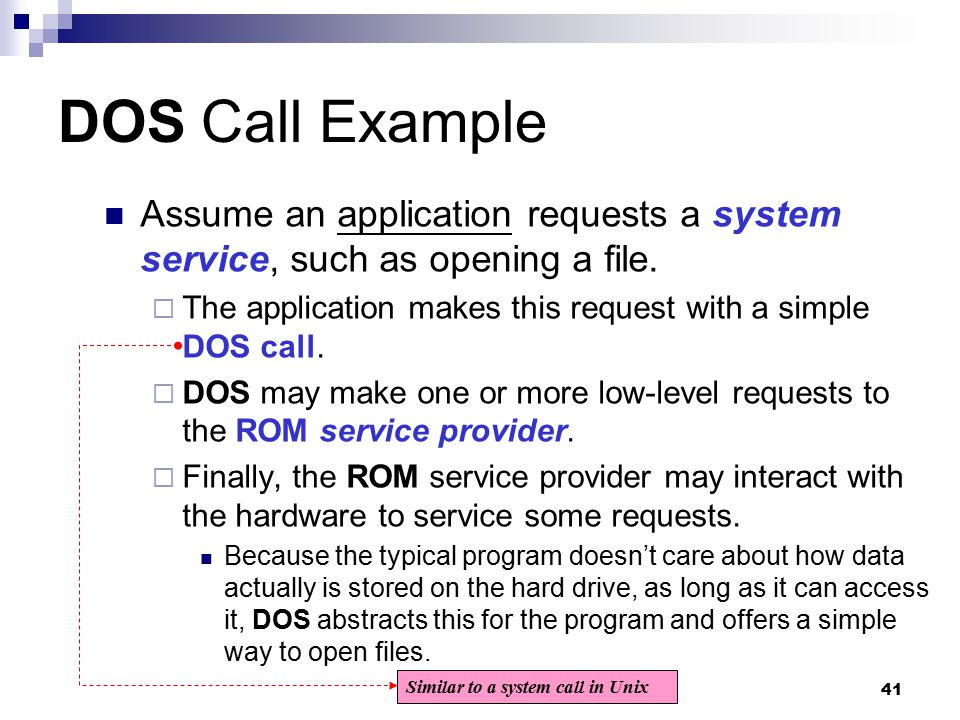 DOS Call Example Assume an application requests a system service, such as opening a file. The application makes this request with a simple DOS call.