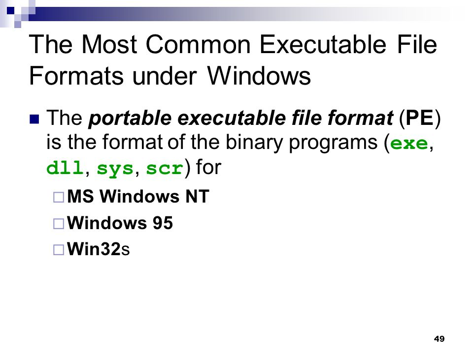 The Most Common Executable File Formats under Windows