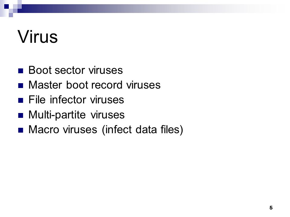Virus Boot sector viruses Master boot record viruses