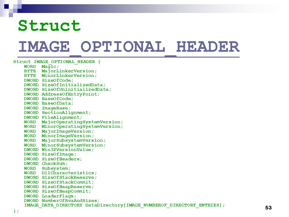 Struct IMAGE_OPTIONAL_HEADER