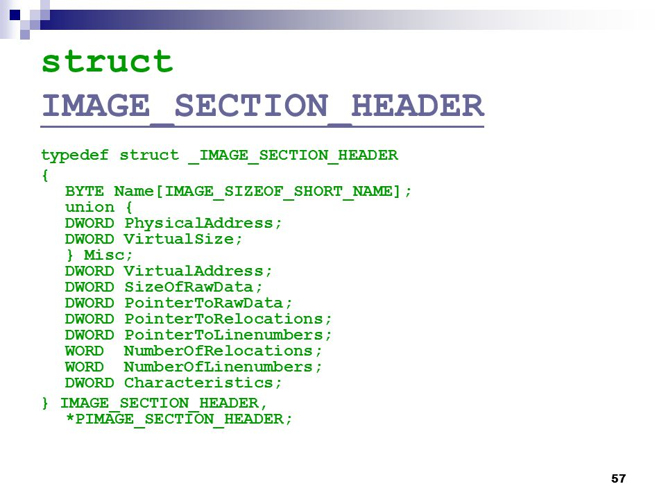 struct IMAGE_SECTION_HEADER