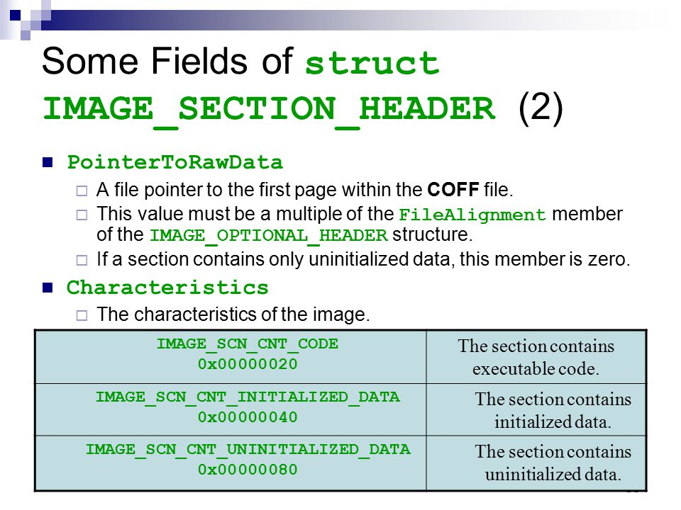 Some Fields of struct IMAGE_SECTION_HEADER (2)