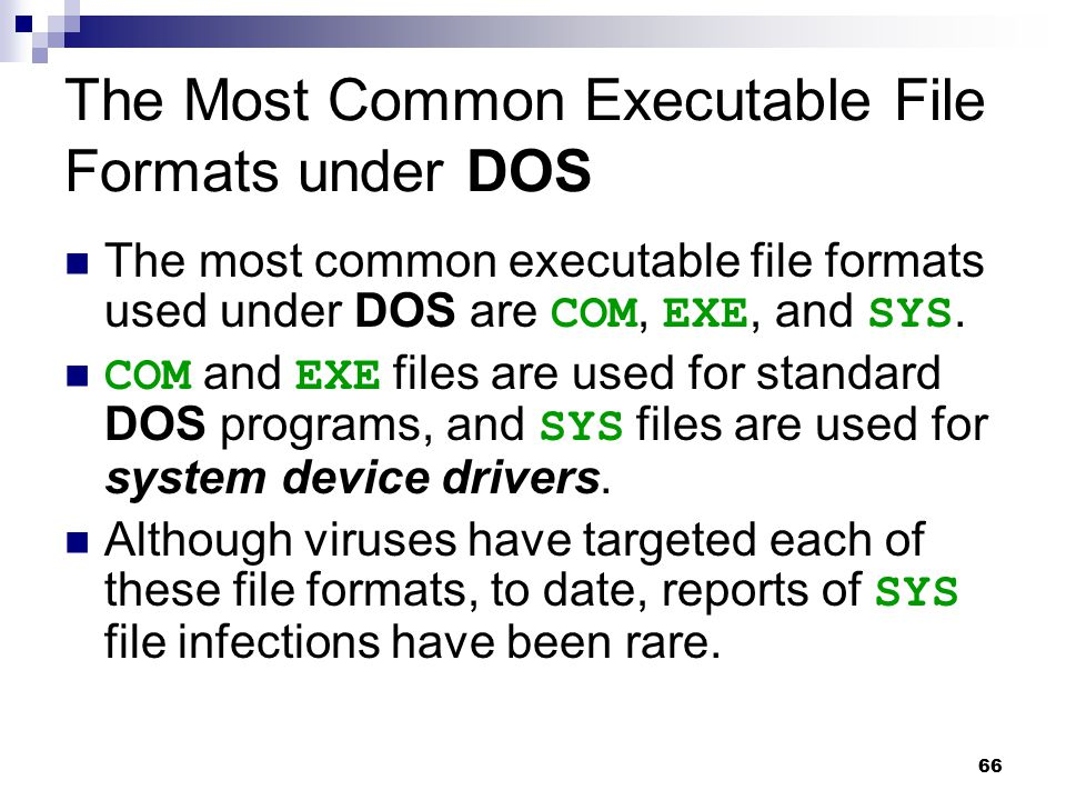 The Most Common Executable File Formats under DOS