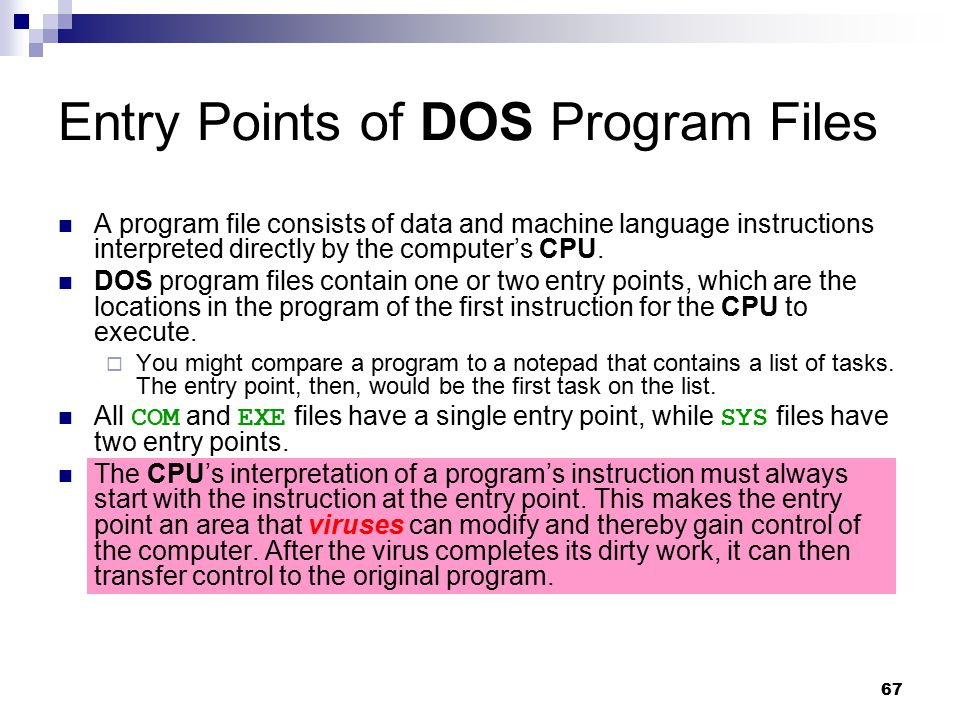 Entry Points of DOS Program Files