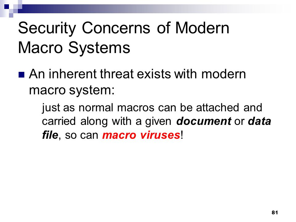 Security Concerns of Modern Macro Systems