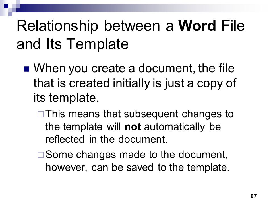 Relationship between a Word File and Its Template