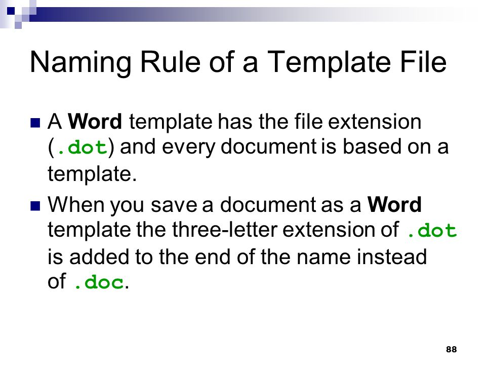 Naming Rule of a Template File