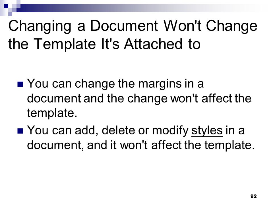 Changing a Document Won t Change the Template It s Attached to