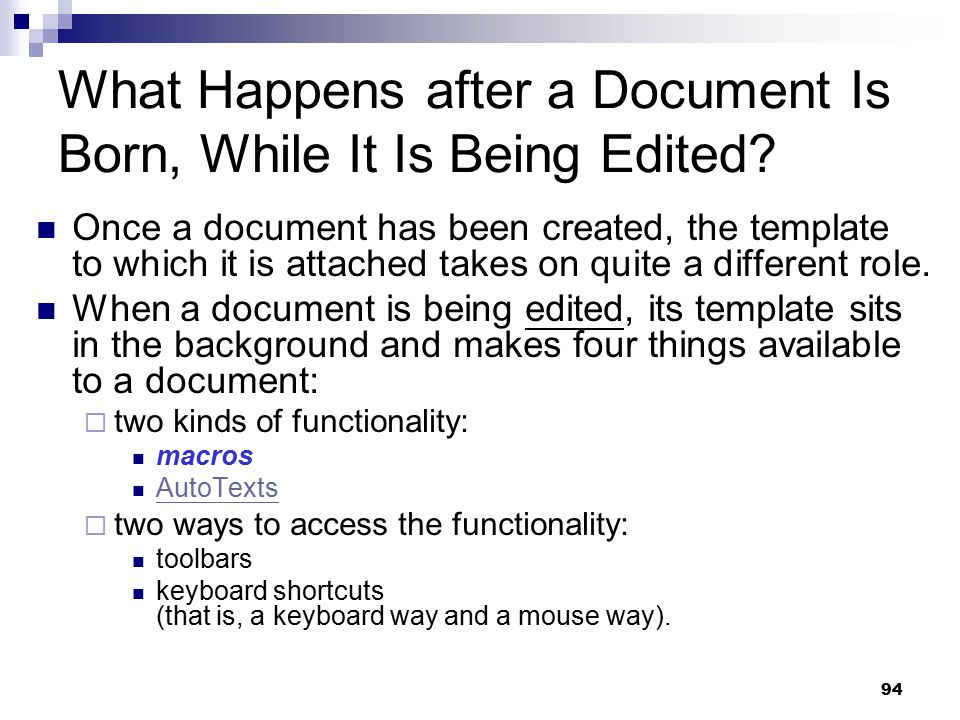 What Happens after a Document Is Born, While It Is Being Edited