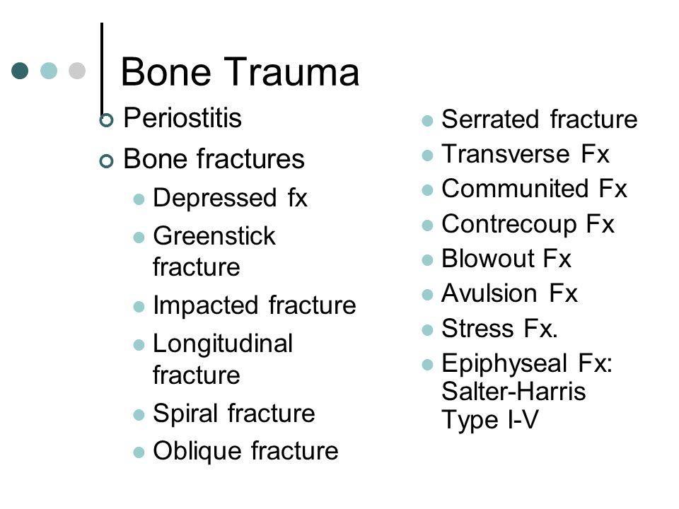 Bone Trauma Periostitis Bone fractures Depressed fx