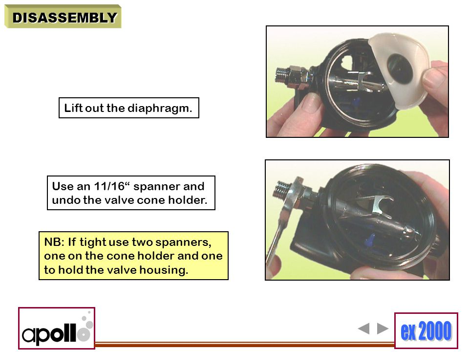 DISASSEMBLY Lift out the diaphragm. Use an 11/16 spanner and