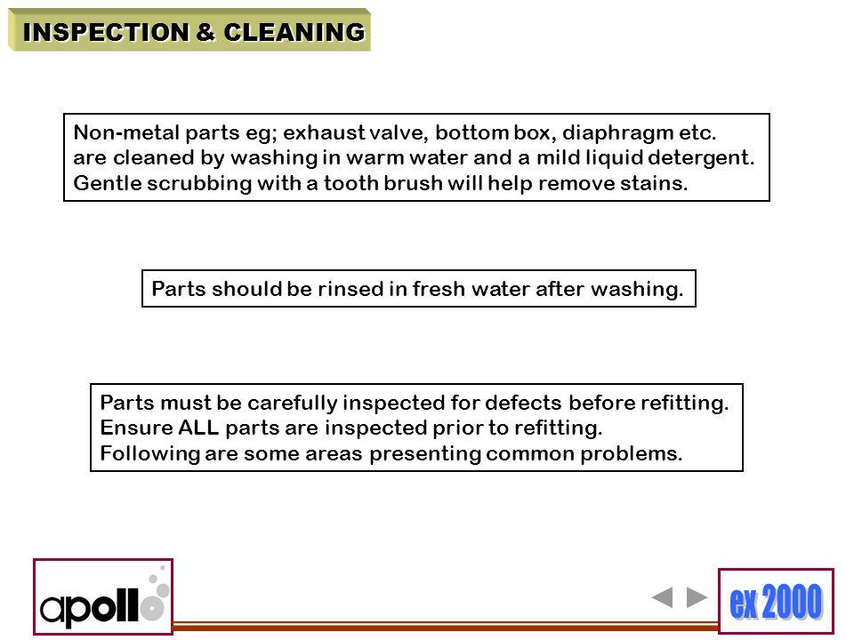 INSPECTION & CLEANING Non-metal parts eg; exhaust valve, bottom box, diaphragm etc.