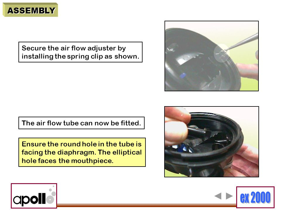 ASSEMBLY Secure the air flow adjuster by