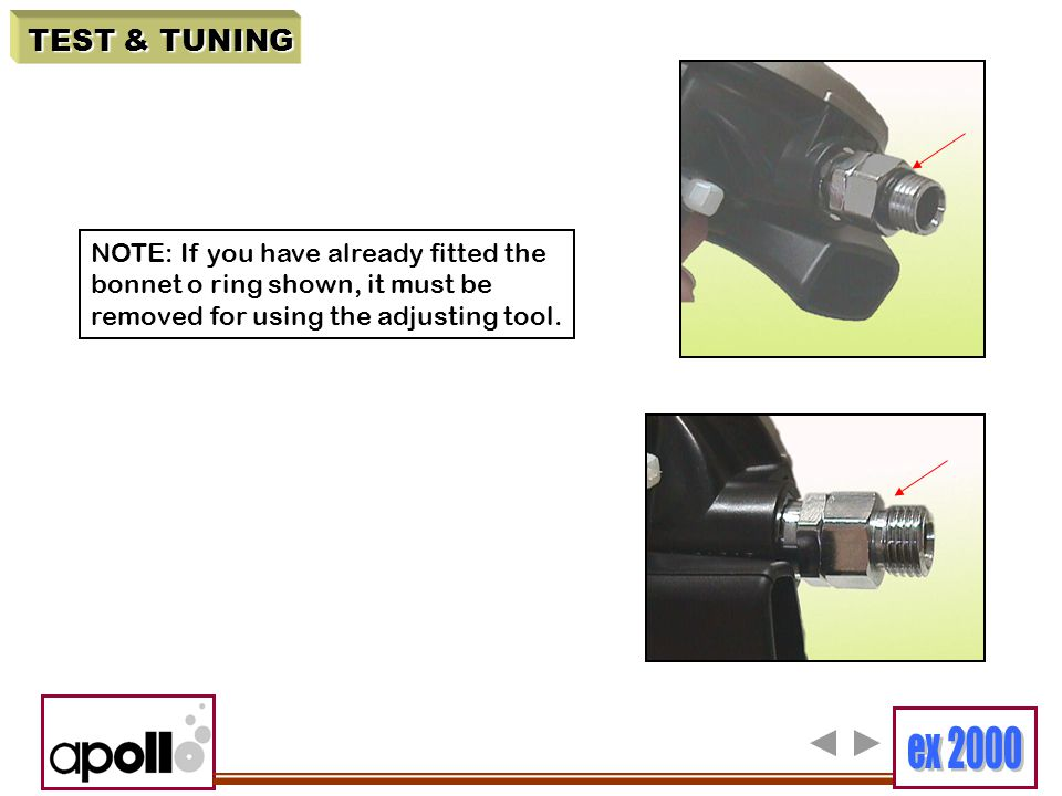 TEST & TUNING NOTE: If you have already fitted the