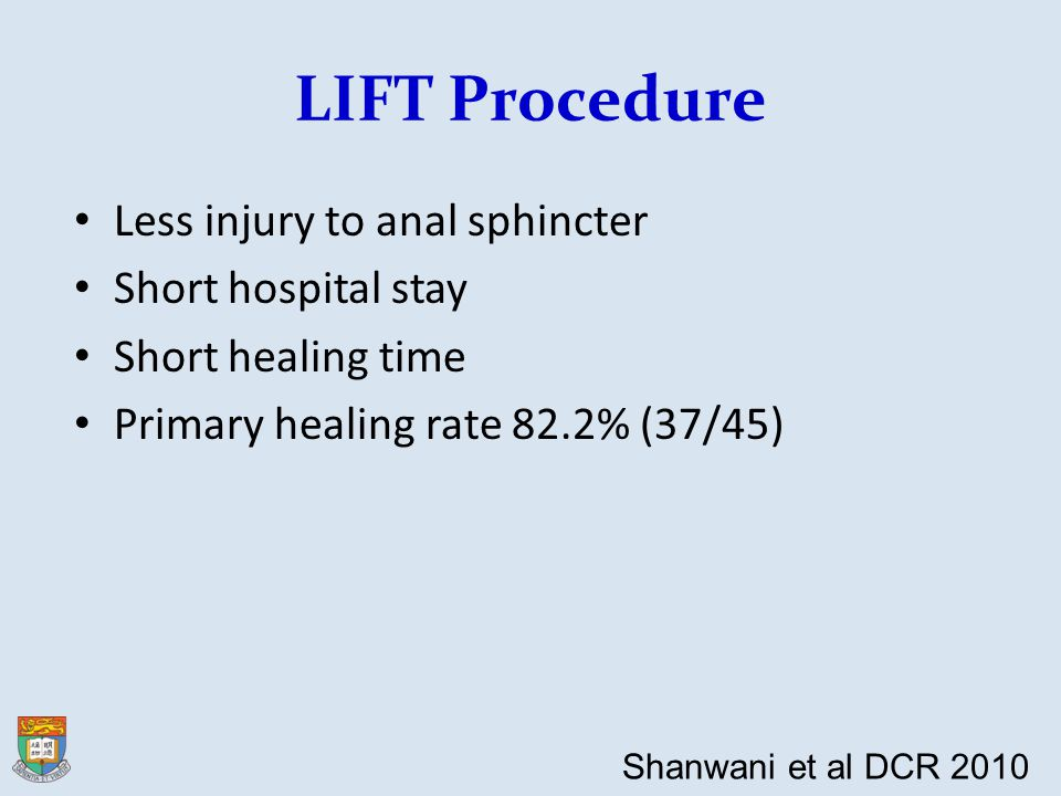 LIFT Procedure Less injury to anal sphincter Short hospital stay