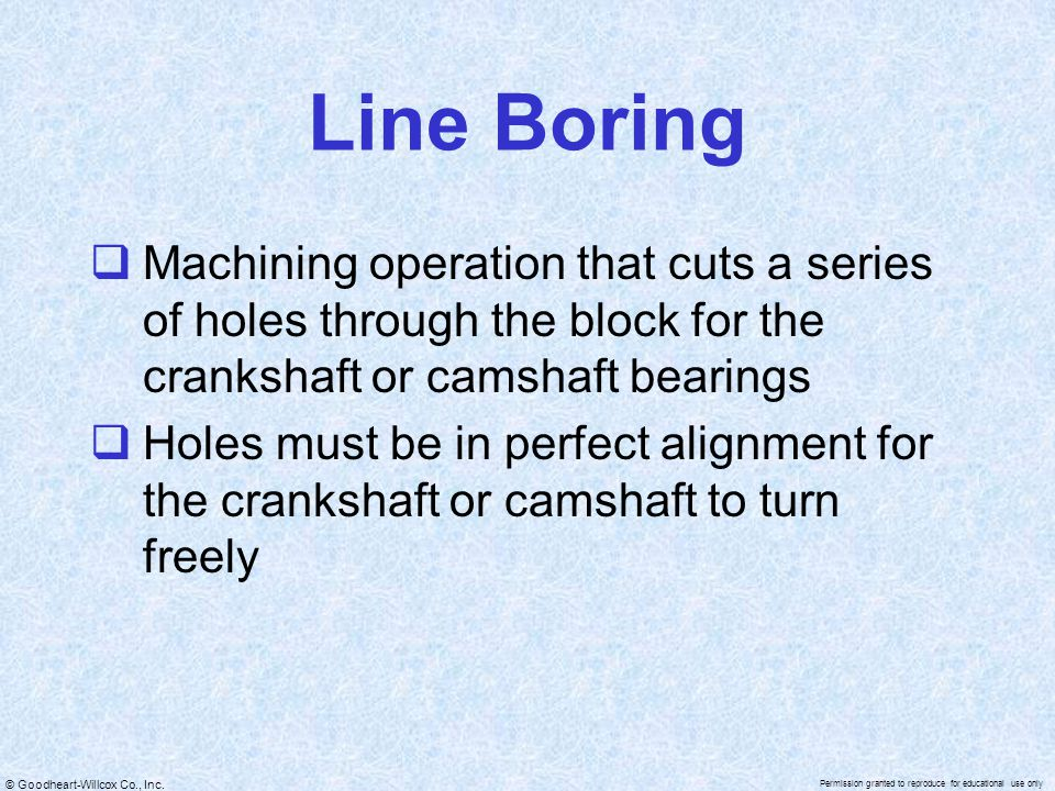 Line Boring Machining operation that cuts a series of holes through the block for the crankshaft or camshaft bearings.