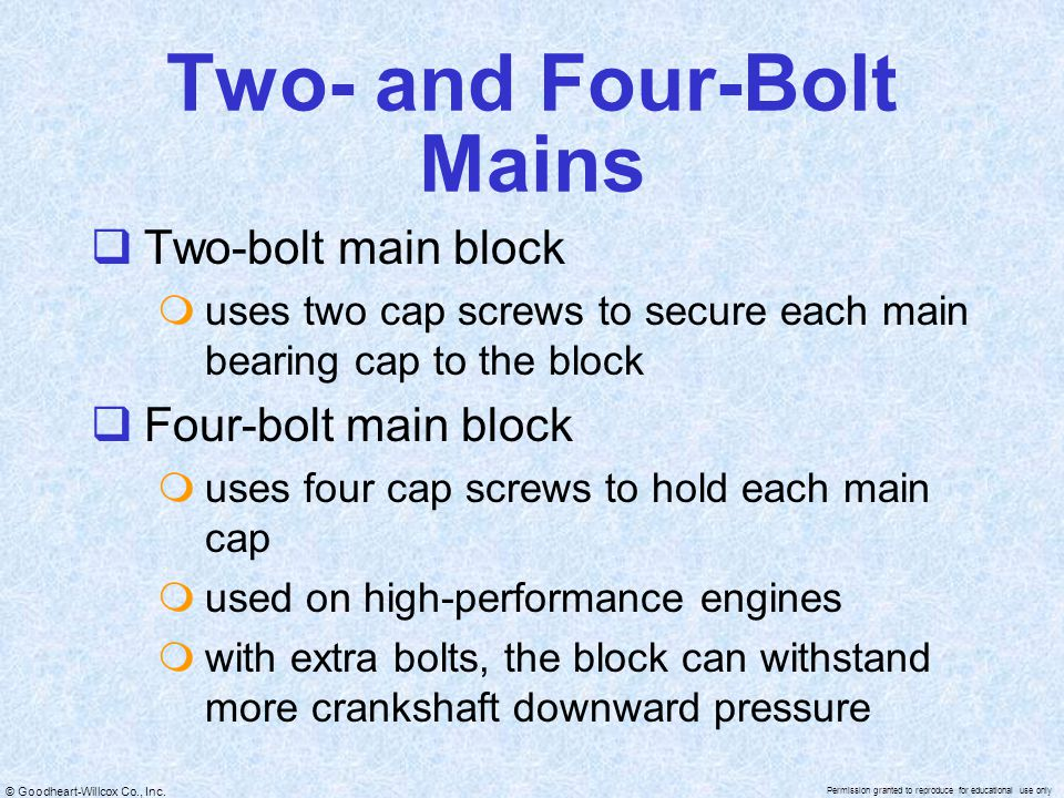 Two- and Four-Bolt Mains