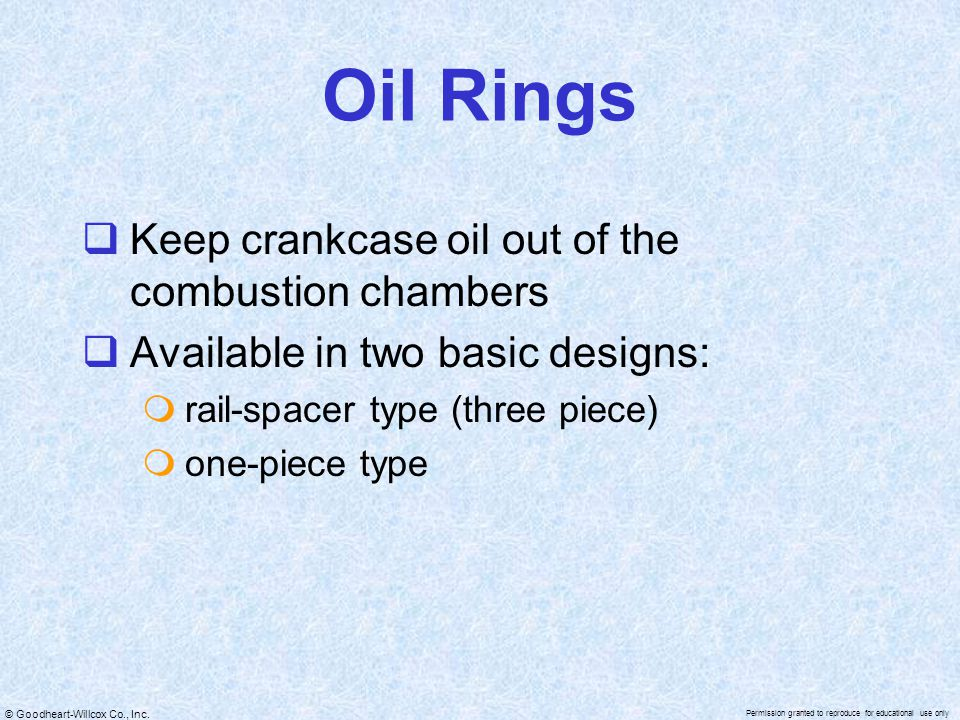 Oil Rings Keep crankcase oil out of the combustion chambers