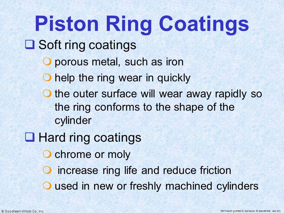 Piston Ring Coatings Soft ring coatings Hard ring coatings