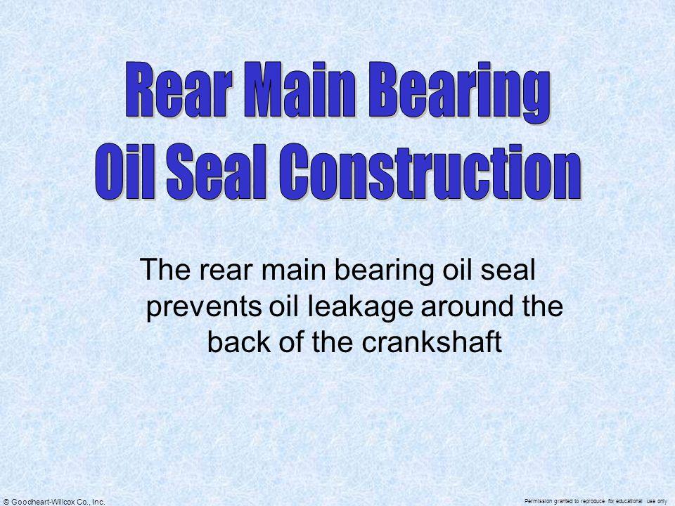 Rear Main Bearing Oil Seal Construction