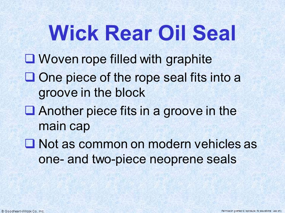 Wick Rear Oil Seal Woven rope filled with graphite