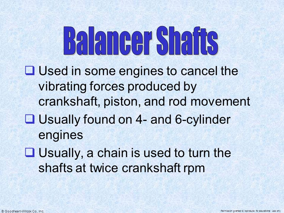 Balancer Shafts Used in some engines to cancel the vibrating forces produced by crankshaft, piston, and rod movement.