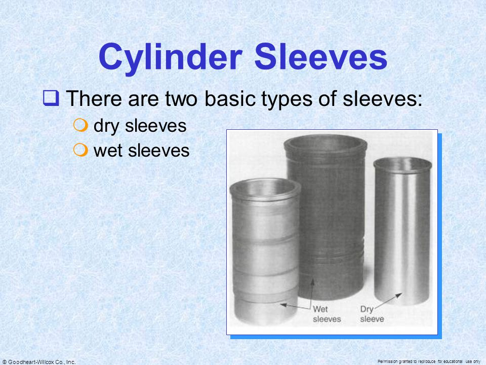 Cylinder Sleeves There are two basic types of sleeves: dry sleeves