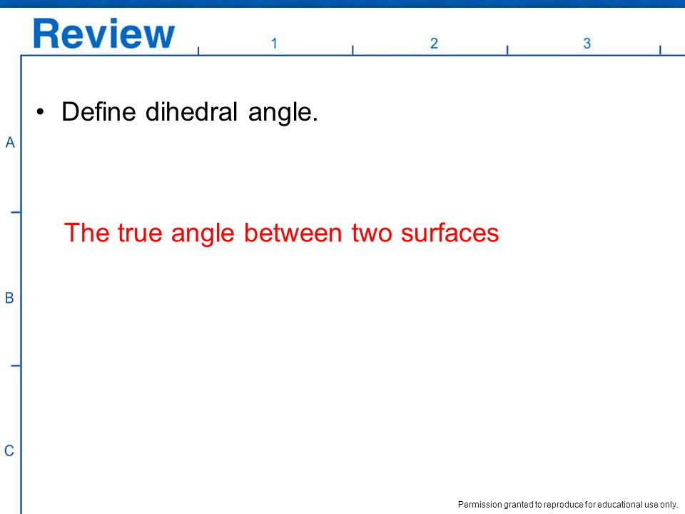 Define dihedral angle. The true angle between two surfaces