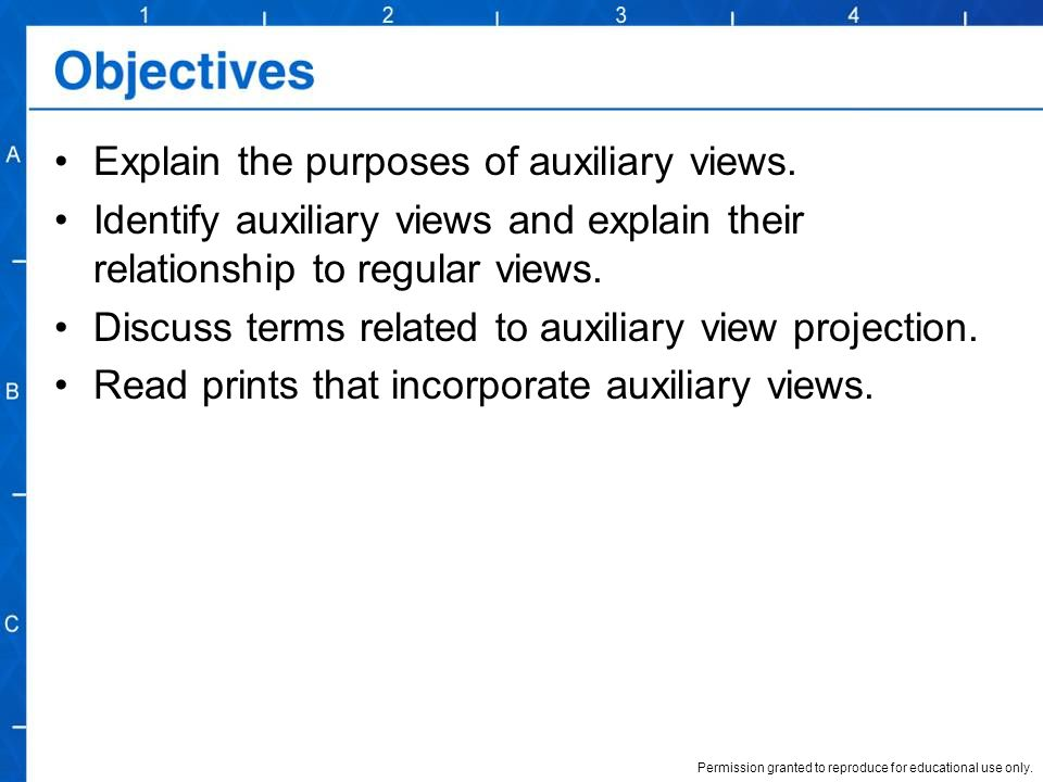 Explain the purposes of auxiliary views.