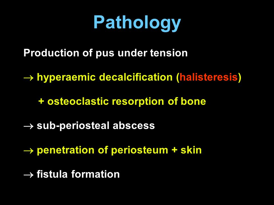 Pathology Production of pus under tension