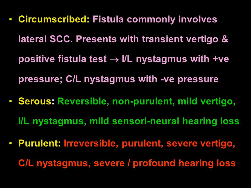 Circumscribed: Fistula commonly involves lateral SCC