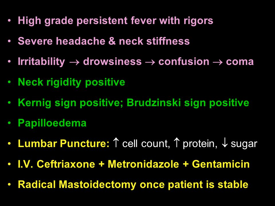 High grade persistent fever with rigors