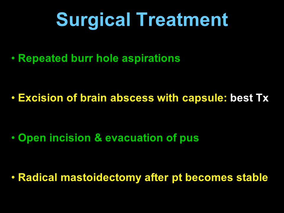 Surgical Treatment Repeated burr hole aspirations