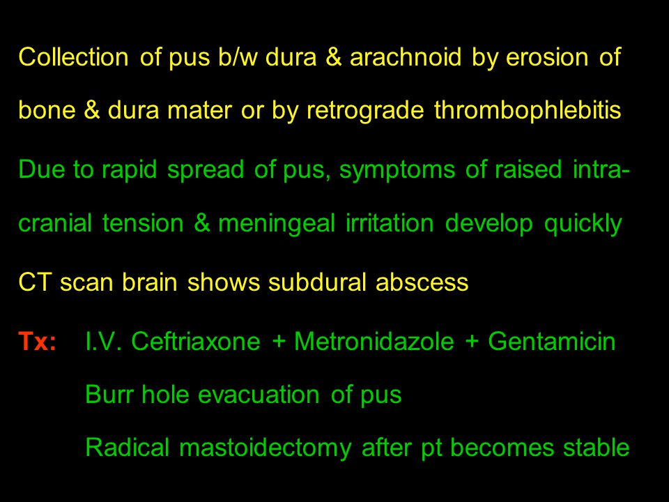 Collection of pus b/w dura & arachnoid by erosion of bone & dura mater or by retrograde thrombophlebitis
