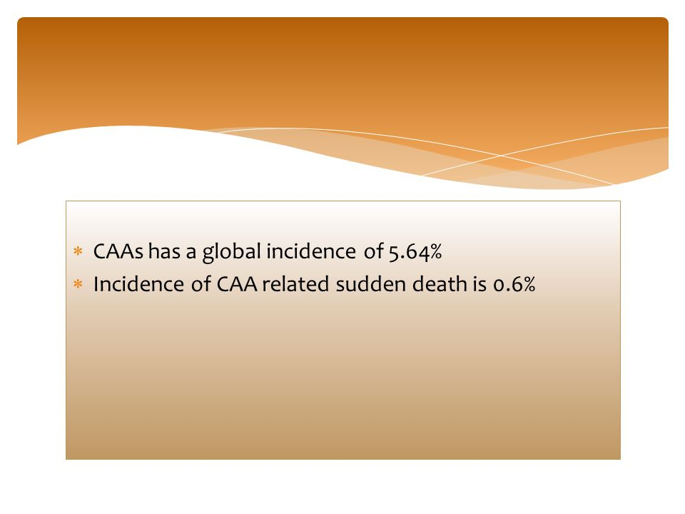 CAAs has a global incidence of 5.64%