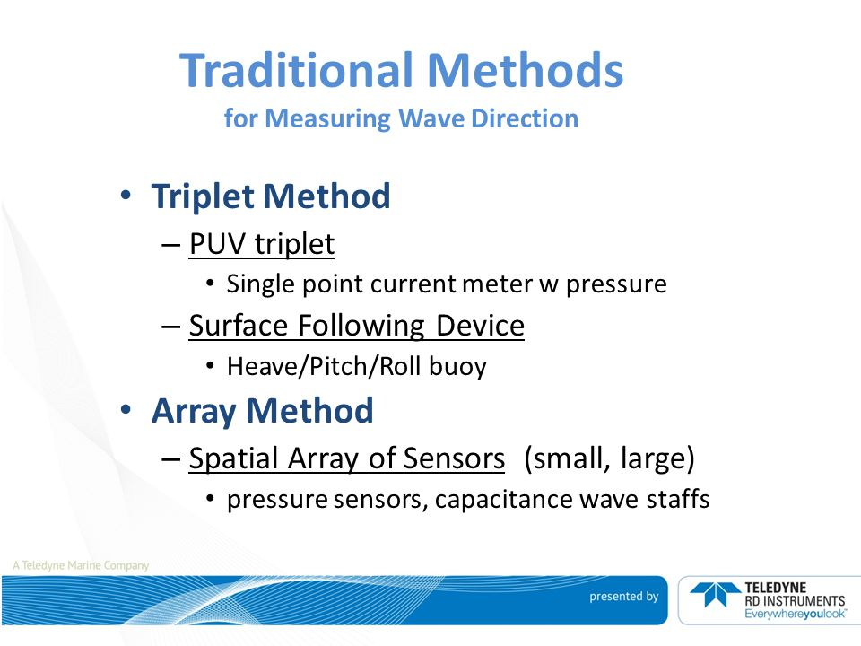 Traditional Methods for Measuring Wave Direction