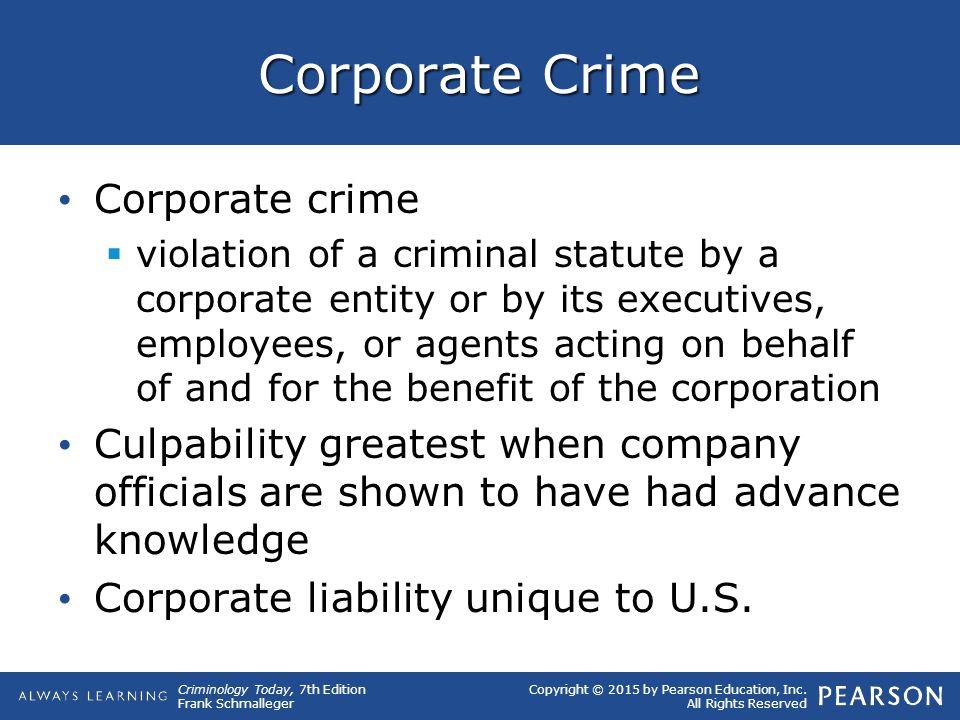 Corporate Crime Corporate crime