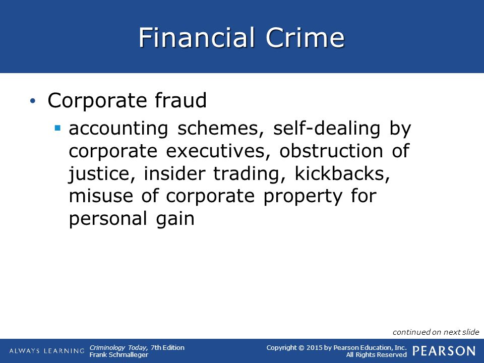 Financial Crime Corporate fraud