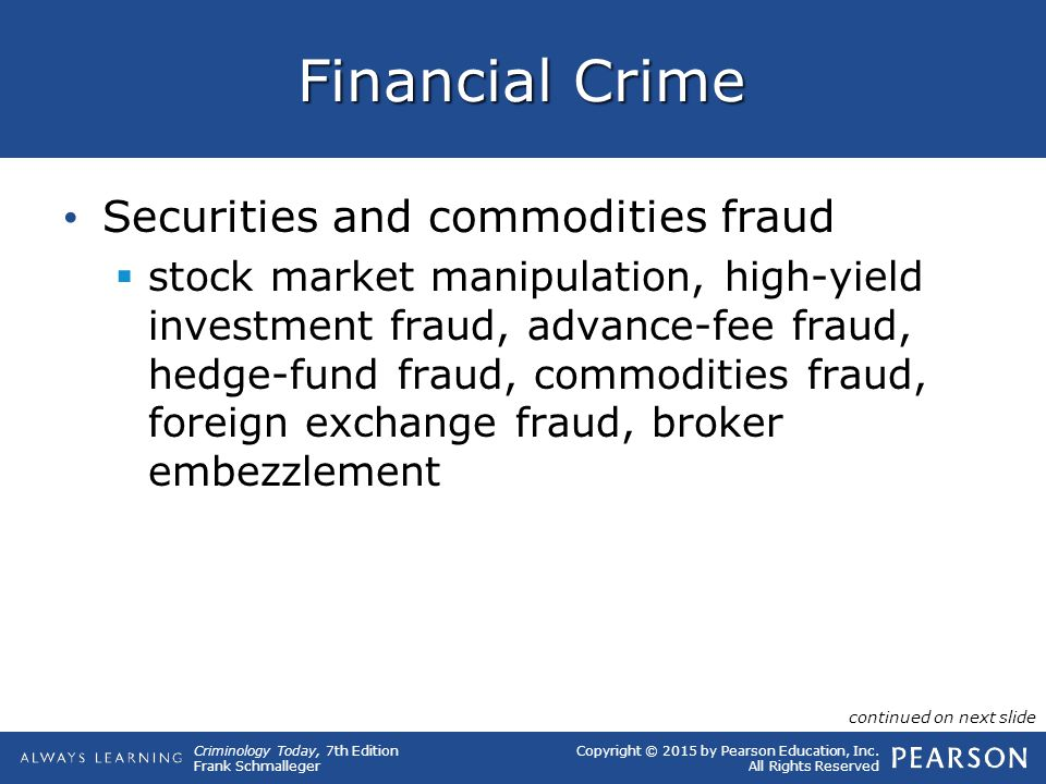 Financial Crime Securities and commodities fraud