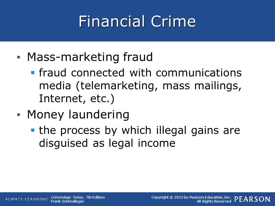 Financial Crime Mass-marketing fraud Money laundering