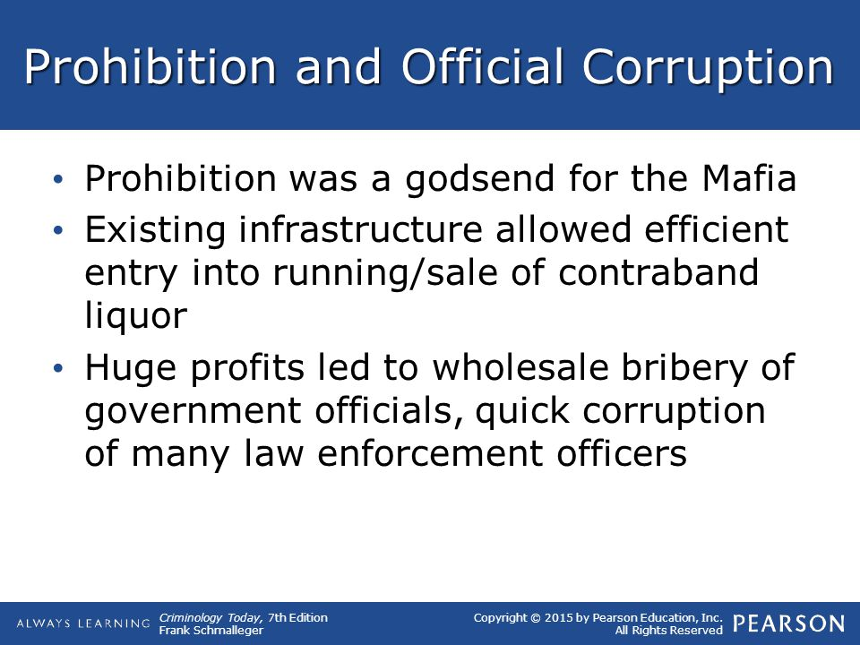 Prohibition and Official Corruption
