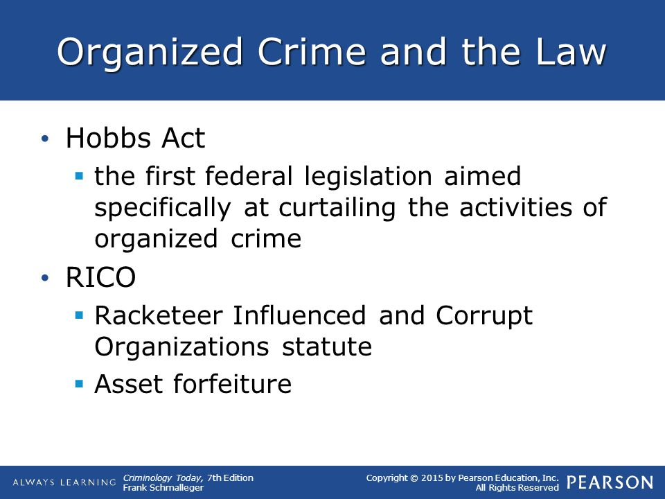 Organized Crime and the Law