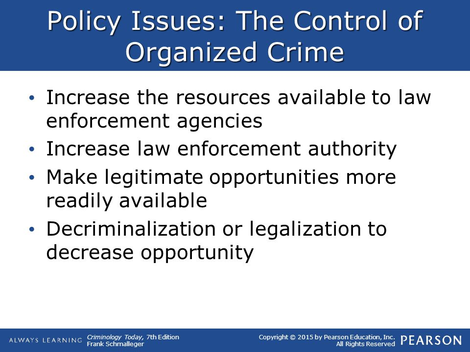Policy Issues: The Control of Organized Crime