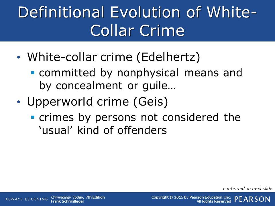 Definitional Evolution of White-Collar Crime