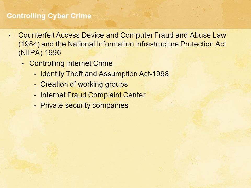 Controlling Cyber Crime