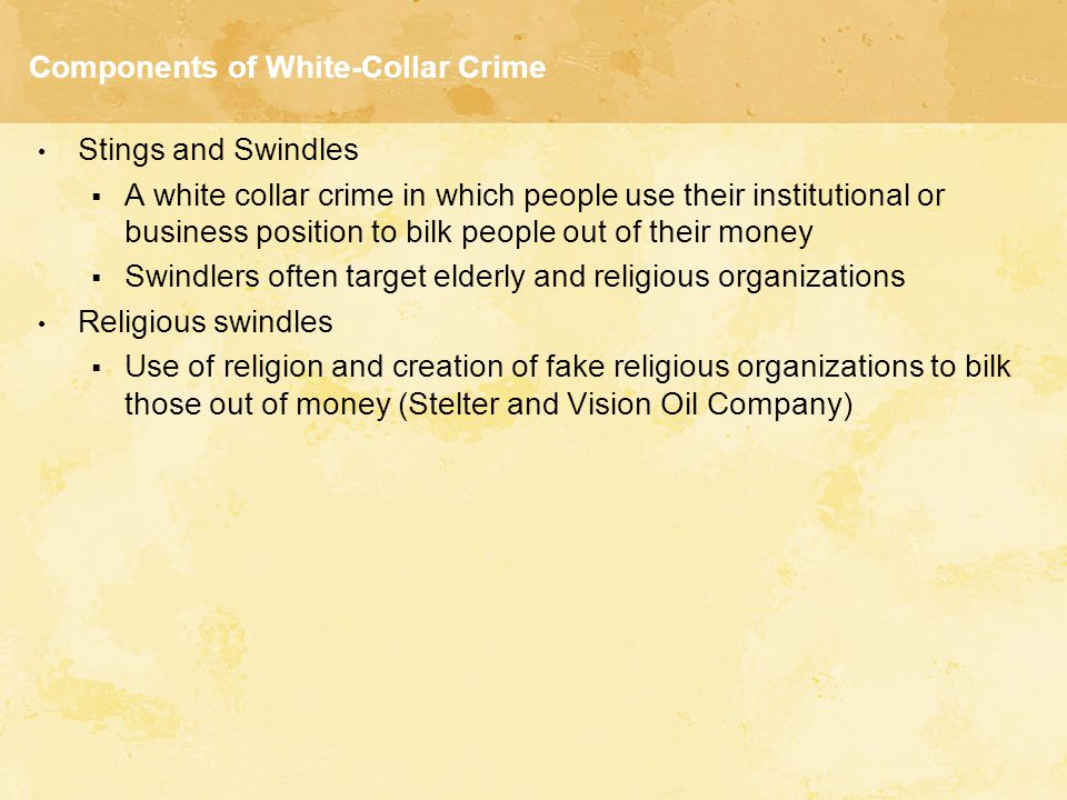 Components of White-Collar Crime