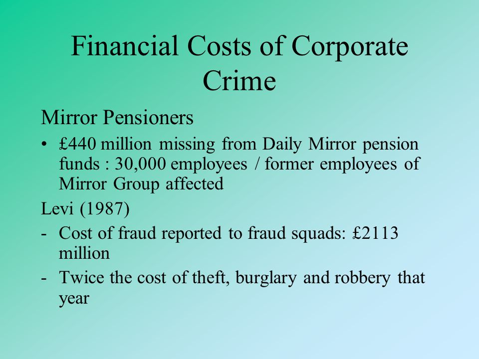 Financial Costs of Corporate Crime