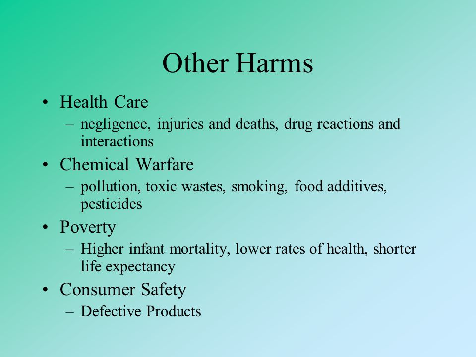 Other Harms Health Care Chemical Warfare Poverty Consumer Safety