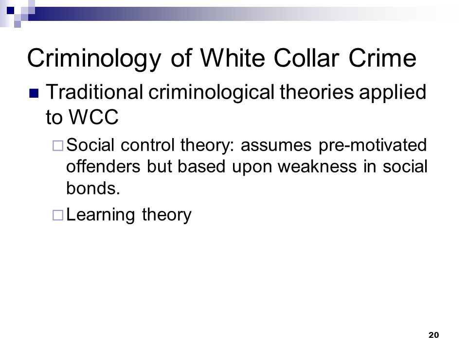 Criminology of White Collar Crime